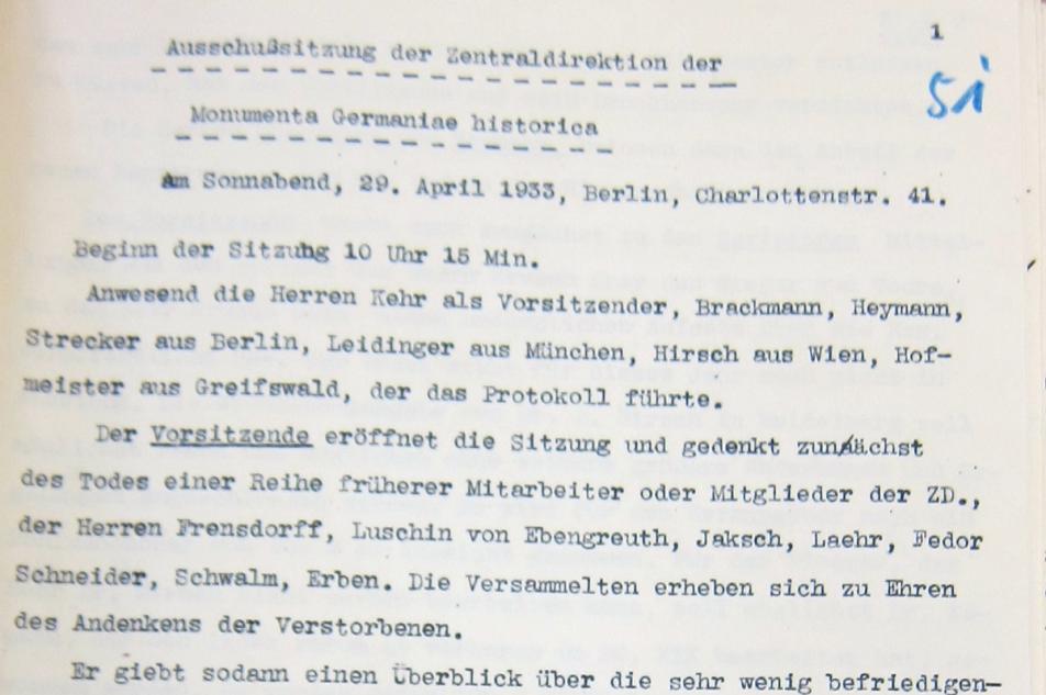 Erste Seite des Protokolls. MGH-Archiv B 338/52, Bl. 51.