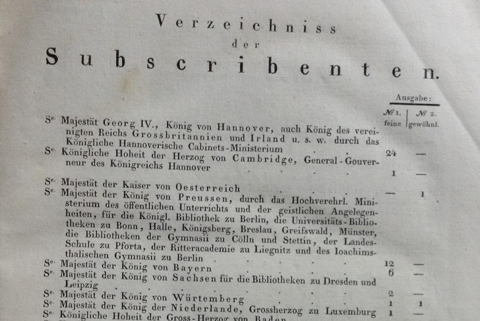 Erste Seite der Subskribentenliste. MGH-Bibliothek 20 C 20-1, S. V. Foto: MGH/Ingo Seufert