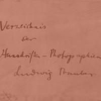 Ludwig Traube: Verzeichnis der Handschriften-Photographien