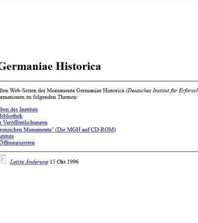 Die Anfänge: MGH-Webauftritt 1996