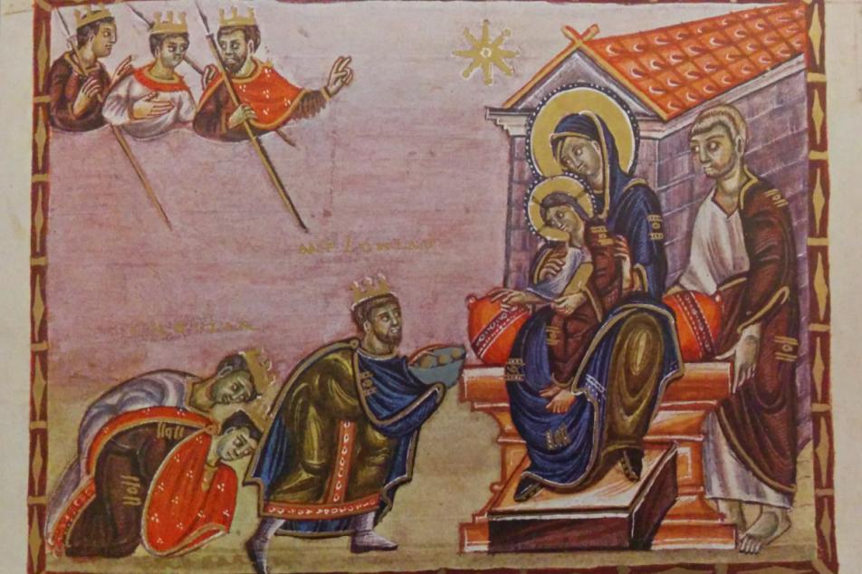 Codex Egberti, 10. Jhdt., Anbetung der Könige. Foto: MGH/Rommel