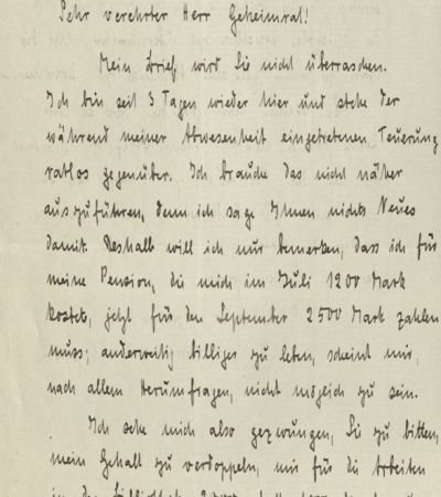 Brief Annemarie Klippels an Paul Fridolin Kehr vom 8. September 1922. MGH-Archiv 338/205