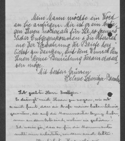 Letter from Helene Schweitzer-Bresslaus to Friedrich Baethgen with personal greetings from Albert Schweitzer, p. 2. MGH-Archiv B 699